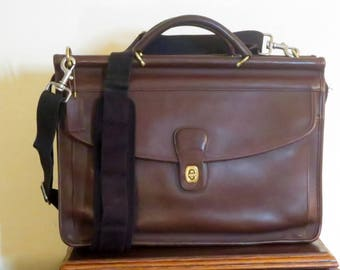 Spring Sale Coach Lenox Brief In Mahogany Leather Style No. 5313- Made In United States -VGC- Replacement Strap