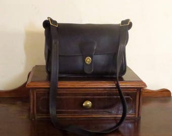 Spring Sale Coach Rambler Bag In Black Leather With Brass Hardware - Style No 9735- Made In United States- GUC- Rare Bag