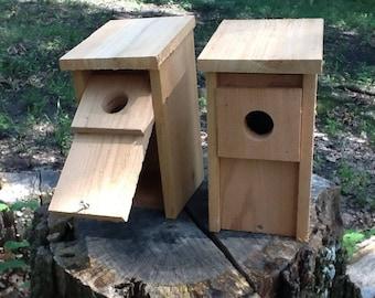2 Bluebird Bird House Cedar Wood Nest Box Hand Made Predator Guard New Easy Open