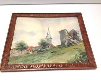 vintage french framed watercolor, french art, french painting