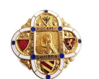 Antique  French Christian Enamel Brooch, Diocese de Cambrai, French Christian Jewelry