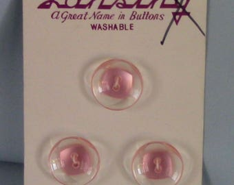 "Vintage Lansing Clear/Pink Plastic Buttons , 3/4"", Set of 3, Pink Square Center"