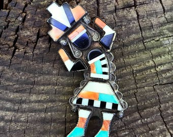 Large Zuni Inlay Rainbow Dancer Pin with turquoise feet