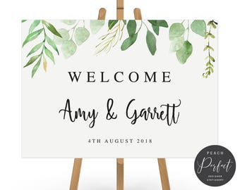 Rustic Leaves Modern Wedding Welcome Sign, Romantic Brush Script, Free Colour Changes, Amy Suite, DIY Printable We Print, Peach Perfect