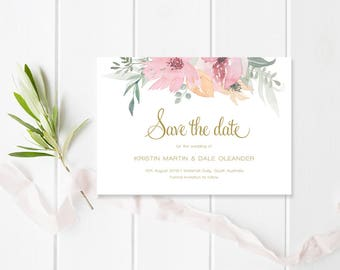 Wedding Save the Date, Pink Floral and Gold Wedding, Printable or Professionally Printed, Kristen Suite, Peach Perfect