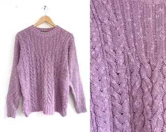 80s cable knit sweater lavender purple sweater linen & cotton sweater minimalist sweater pullover crew neck sweater womens jumper medium