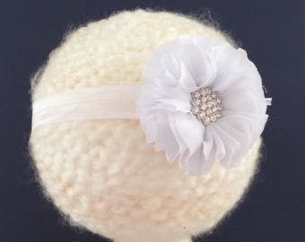 white flower headband with faux rhinestone accessory photo prop baby shower baby girl gift