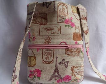 Shoulder handbag, featuring a Paris print fabric in pink cream and green. Shoulder strap attached either side, outside zipped pocket.