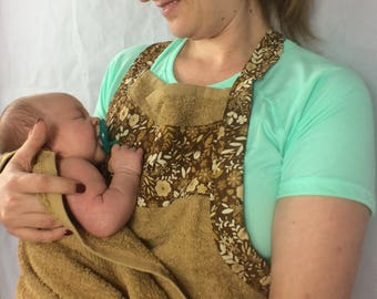 Baby Bath Apron Towel for Moms in Brown with Brown Floral Cotton Fabric Print: Showers of Flowers