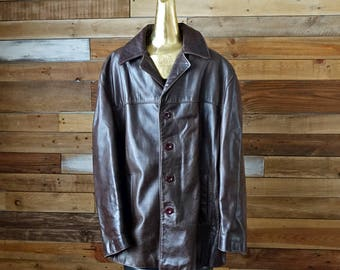 Vintage brown leather jacket - Sheepskin - Large size