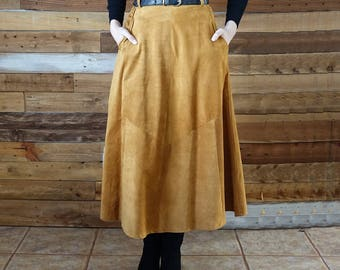 Vintage long suede skirt - Size 7/8 - High waist