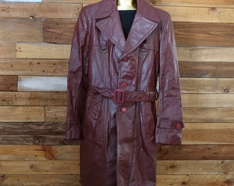Medium leather trench coat - Terra Cotta coat - Vintage - 70s