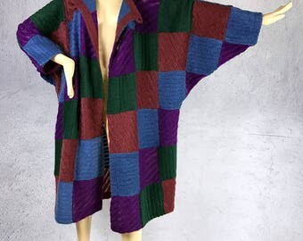 SALE!Amazing 80's Vintage Missoni Color block Patchwork oversized long coat /Made in Italy