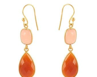 ON SALE Handmade Earrings - Pink Chalcedony and Red Onyx - Sterling Silver 23k Micro Gold Plated