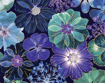 Floral Impressions, Large Floral Fabric, Pansies, Floral Fabric, by Kanvas, 8676-55