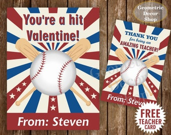 Baseball / Sports / Valentine Card / Valentines Card / Valentine's Day / Personalized / red / blue / Tags / teacher / Kids / VCard36
