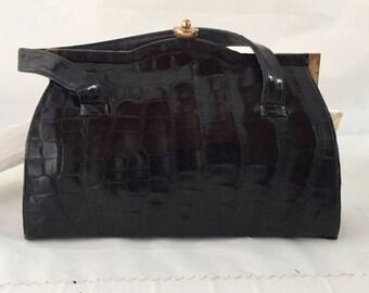 1950's Vintage Black Faux Alligator Leather Frame Kelly Purse/ Handbag