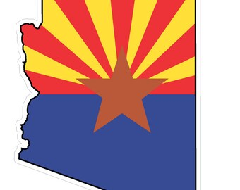 Arizona State (Q5) Shape Flag Vinyl Decal Sticker Car/Truck Laptop/Netbook Window