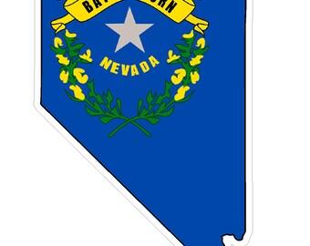 Nevada State (Q29) Shape Flag Vinyl Decal Sticker Car/Truck Laptop/Netbook Window
