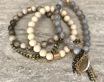 Beaded Stackable Stretch Bracelets with Chains and Gold Filled Elements