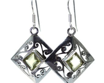 Lemon Quartz Earrings, 925 Sterling Silver, Unique only 1 piece available! color yellow, weight 4.9g, #24744