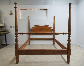 Vintage Knotty Pine Queen Carved Poster Bed Headboard