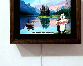 Hamm's Hamms Beer Bear Fishing Camping Canoe Boat  Wood Frame Light Lighted Sign