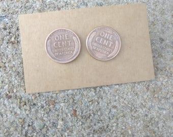 Penny earrings - Stud earrings - Wheat penny earrings -  Coin earrings - lucky penny - Coin jewelry - Post earrings - Gift for her - Vintage