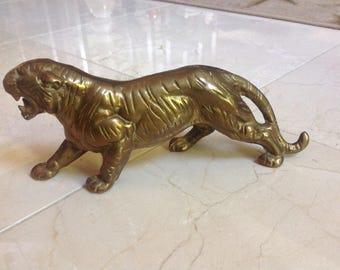 Vintage Etched Brass Tiger Doorstop Big Cat Figurine