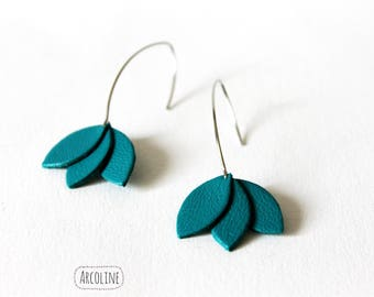 Earrings Lotus petals leather Turquoise ° ° °
