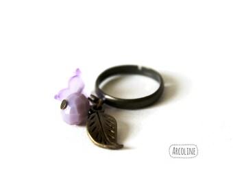 Ring Bohemian ° ° ° purple bead