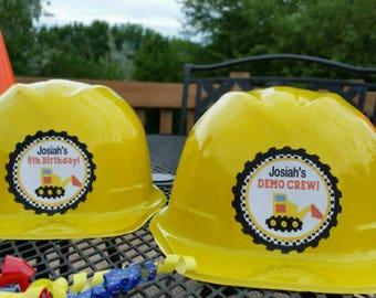1 Personalized Plastic Construction Party Hat, Construction Party Favors
