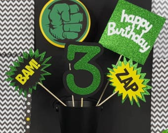 5 pc Glitter Hulk Inspired Superhero Themed Centerpiece, Superhero Centerpiece, Superhero Cake Toppers