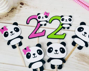 12 Panda Themed Cupcake Toppers