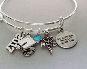 "Personalized MD ( Medical DR // Graduation ""She Believed She Could So She Did"" Bangle W/ Birthstone - Initial - College Gifts / Under  30 C1"