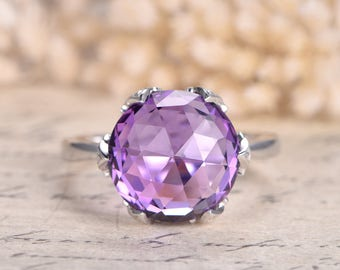 Amethyst Engagement Ring 14K white gold VS Natural Amethyst ring Wedding Promise Ring 12mm Round Amethyst Ring Anniversary Ring Bridal Ring