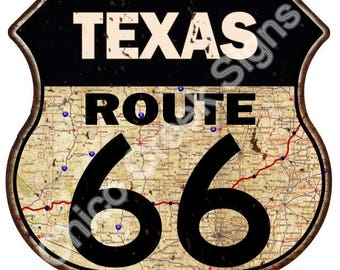 Texas Route 66 Road Map Shield Sign Vintage Look Decor Metal Sign S120250