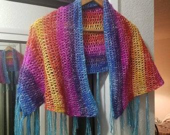Lightweight Colorful Crochet Shawl/ Scarf