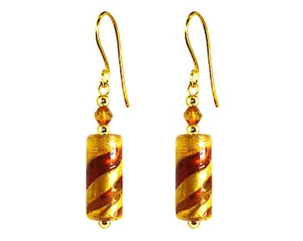 Murano Glass Earrings Gold 'Juliana' by Mystery of Venice, Murano Glass Earrings, Murano Glass Jewelry, Gold Glass Earrings, Glass Earrings