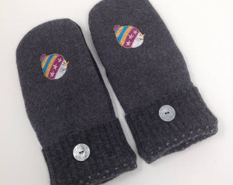 Mittens made from Recycled wool mittens and fleece lined