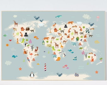 Nursery world map etsy nursery world map animals map animal map nursery animal world map animal gumiabroncs Image collections