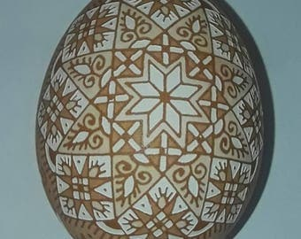 Traditional Ukrainian Easter egg. This egg. Handmade. Pysanky Konoval