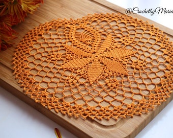 Orange doily Crochet doily Round crochet doily, Handmade doily crochet lace doily Crochet table decoration, Crochet placemat,halloween doily
