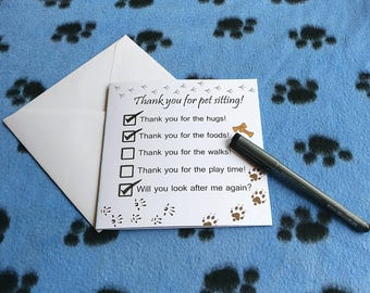 Pet sitters card, pet sitter thank you, thank you card, sorry card, pet sitter gift, thanks for the walks