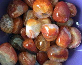 Fire Agate Tumbled Stone Set