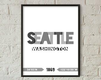 Seattle Print, Seattle Printable, Seattle Poster, Seattle Wall Art, Seattle Coordinates, Seattle Minimalist, Seattle Decor (W0226)