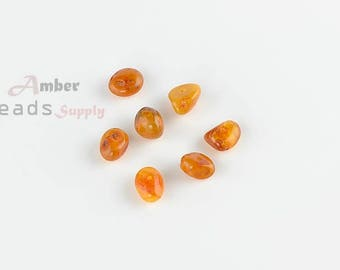 Jewelry making beads, 7 pieces with holes, Amber beads, Baltic amber, Chips oval style beads, Amber pieces for jewelry, MO66