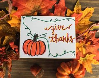 Give Thanks Card | Fall Greeting Card | pumpkin Fall Card | Autumn Greeting Card
