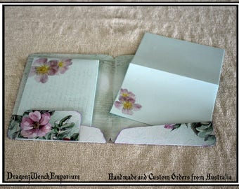Handmade writing paper and envelopes in folder. Handmade stationary. Personalised stationary. Wild rose stationary folder.
