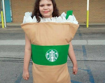 Kids Starbucks Halloween Costume Size XL to XXL Slips Easily over head and body Perfect 4 Special Needs No tripping hazards Contest Winner